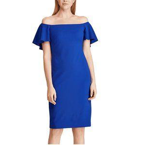Ralph Lauren 4 Blue Crepe Sheath Dress NWT AS15